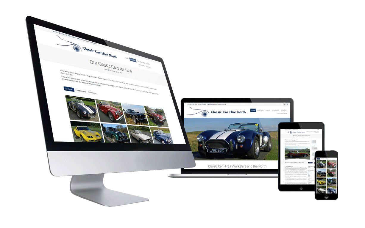 Classic Car Hire North website by Digital Nomads