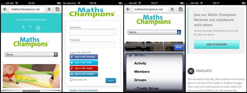 Image of the Maths Champions Network on iPhones